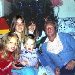 Little Rachael, Bindy,  John James, Becky and Dad 1979 Christmas Morning